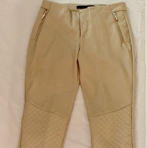Zara Tan/Cream Leather Pants